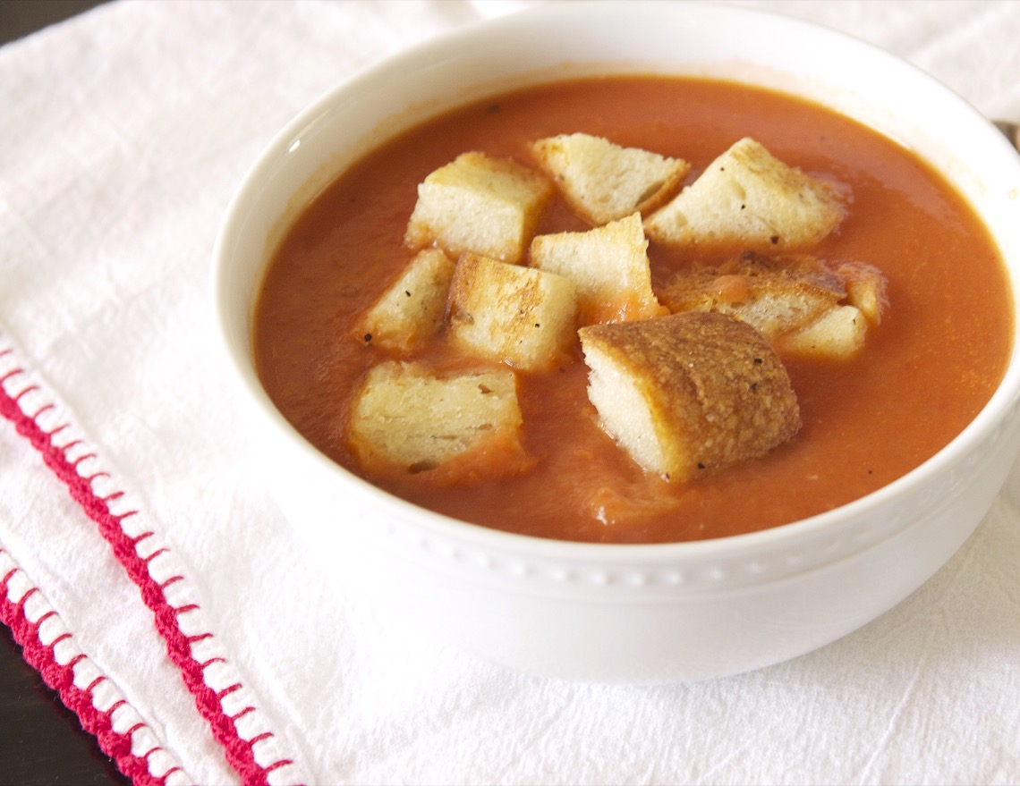 Sing For Your SupperRoasted Tomato Soup with Sourdough Croutons